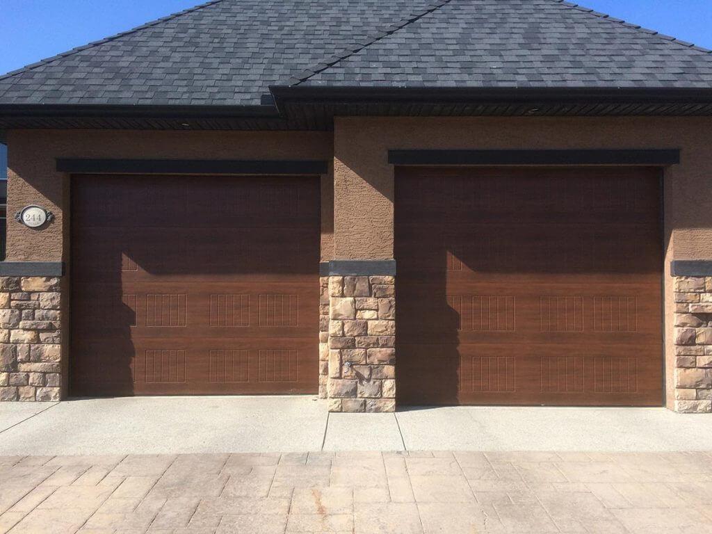 wooden panel garage door