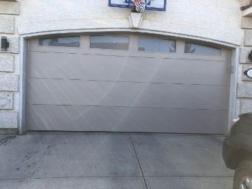 new garage door install - grey