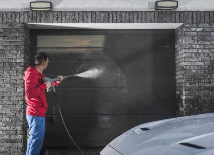 cleaning garage door